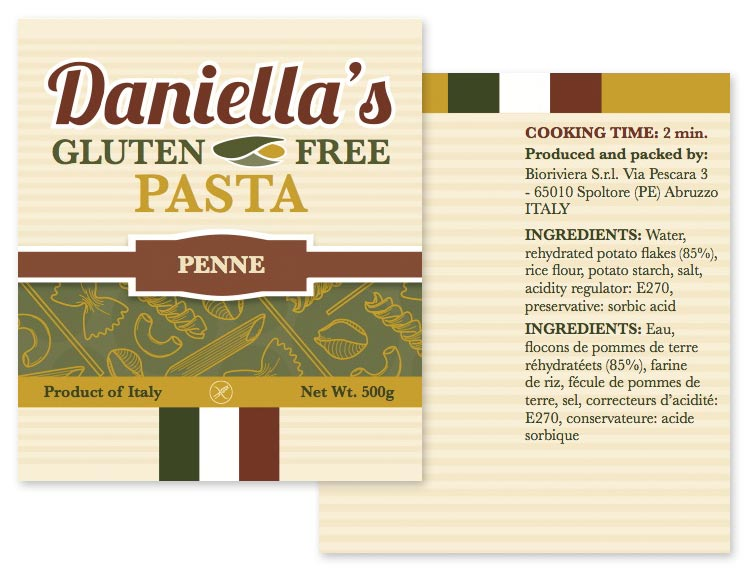 package label for pasta