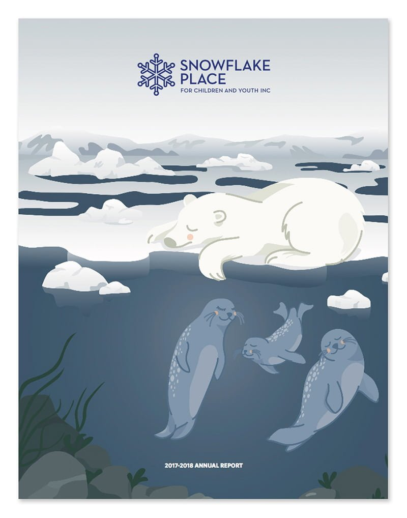 Polar Bear and Seals Cartoon illustration