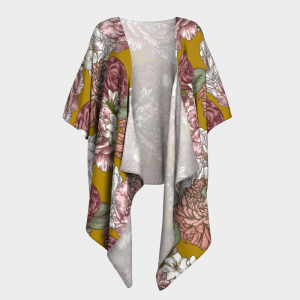 mustard floral draped kimono