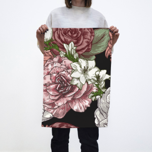 black floral tea towel